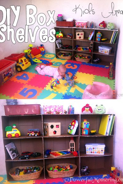 How to Make A Shelf Out Of Cardboard Boxes Kids Area DIY {Click image to Read More}