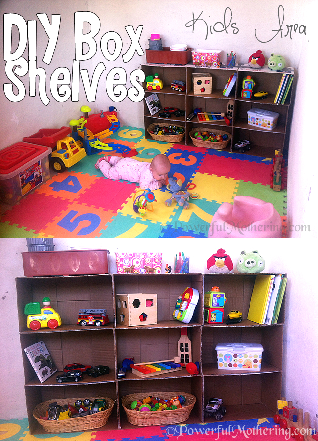 How To Make A Shelf Out Of Cardboard Boxes Kids Area DIY {Click Image To