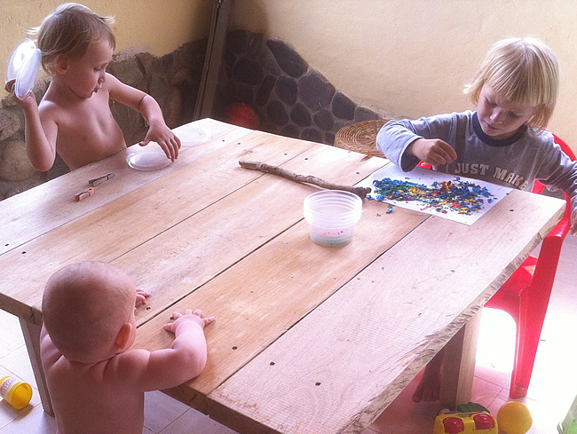 Easter Crafts Playing with egg shells round the table