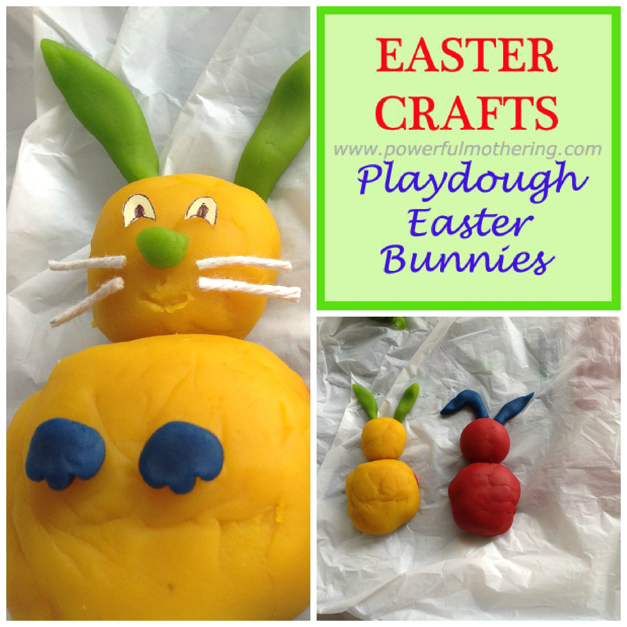 Easter Bunnies Play Dough Crafts for Toddlers