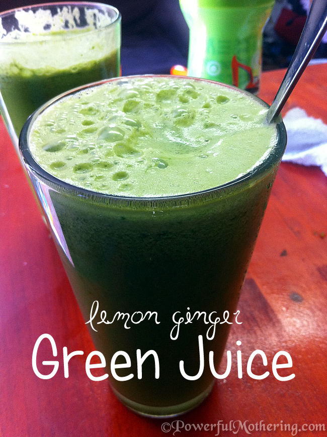 lemon ginger green kale juice