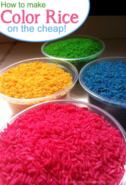 How to make color rice on the cheap with PowerfulMothering.com #toddler