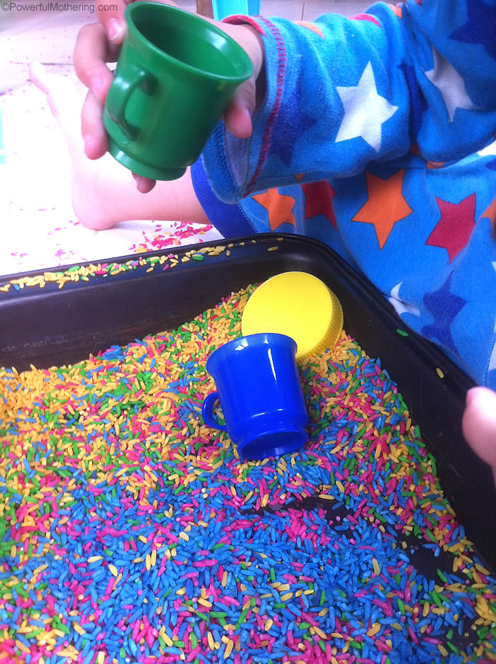 sensory play with color rice