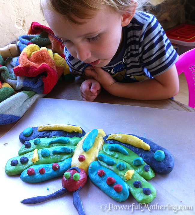 A very hungry caterpillar activity Caterpillar to Butterfly with play dough