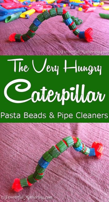 fine motor skills pasta threading the very hungry caterpillar from PowerfulMothering.com #ericcarle