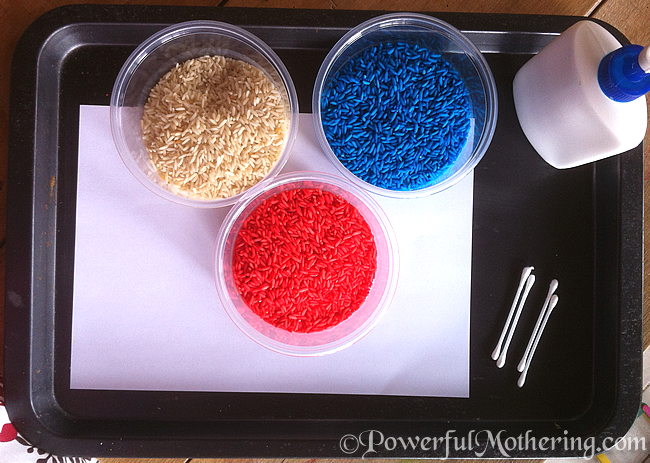 4 July Kids Craft Ideas - Color Rice American Flag Exploring With Rice Fireworks! Click Image to read more!