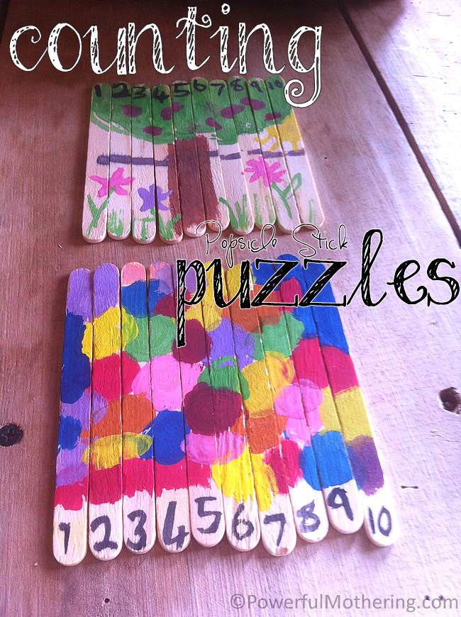 Counting Popsicle Stick Puzzles - Fun Arts and Crafts for Kids