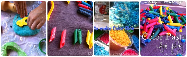 simple kids crafts pasta and color rice