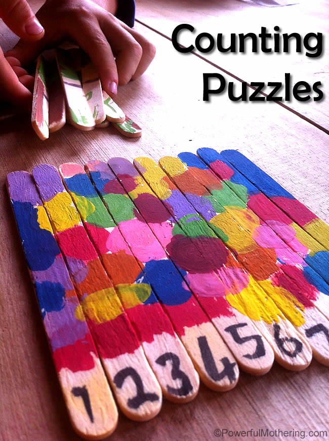 Counting Popsicle Stick Puzzles Fun Arts And Crafts For Kids