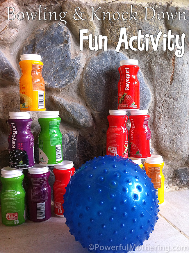 Bowling knock down fun activity for Indoor gross motor activities