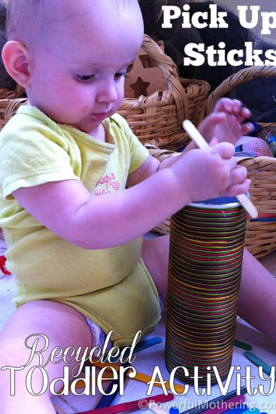 Pick up Sticks a recycled toddler activity