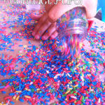 Rainbow Color Rice and Contact Paper a Preschool Activity