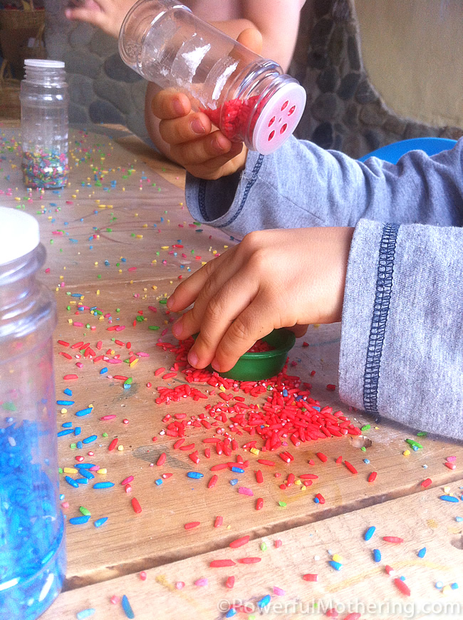 Rainbow Color Rice and Contact Paper Toddler Preschool Activity