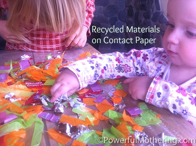 Recycled Materials On Contact Paper Kids Activities With Foil