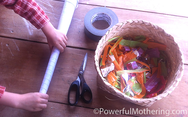 Recycled items on contact paper kids activities foil
