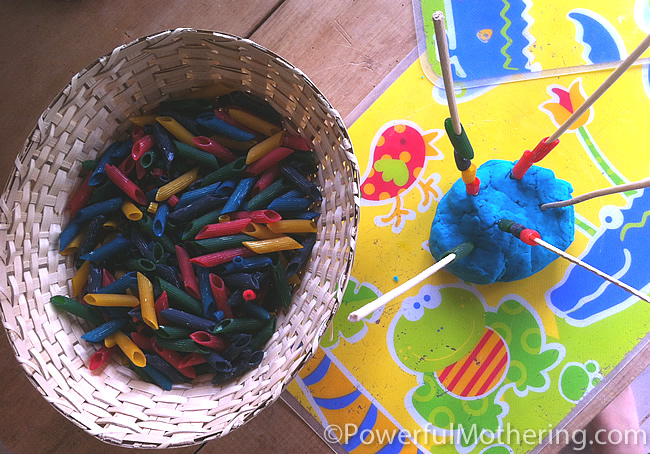 Motor Skills with Pasta and Playdough