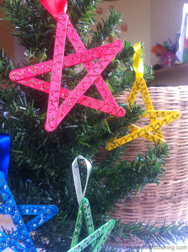 easy christmas crafts for kids stars - Homemade Christmas Decorations For Kids