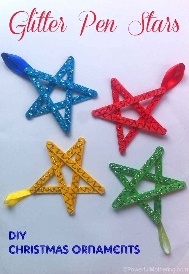 Christmas Decorations Craft Ideas Part - 21: Easy Christmas Ornaments For Kids Glitter Stars