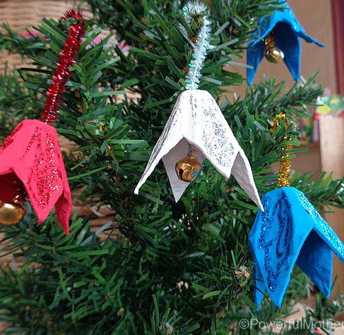 Egg Carton Jingle Bells - Christmas Ornament Craft
