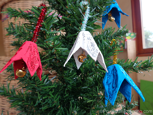 Egg Carton Jingle Bells - Christmas Ornament Craft