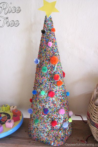 Christmas color Rice Tree Craft