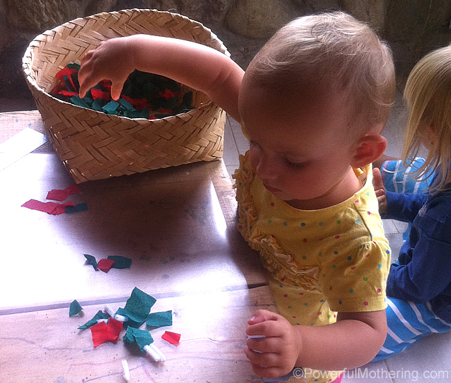 Christmas themed contact paper activity basket