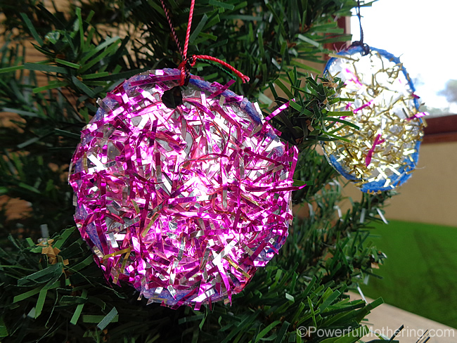 kid made sparkly tinsel christmas ornaments