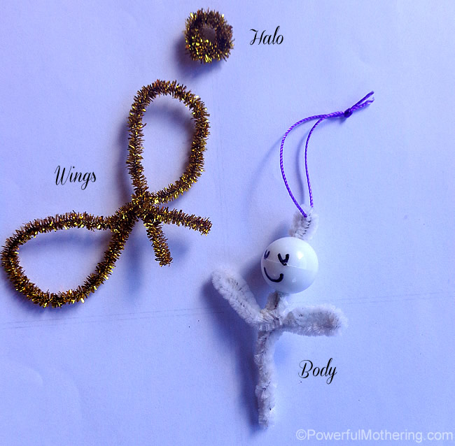 Kid Made Feather  Pipe Cleaner Angels  Easy Christmas Ornaments