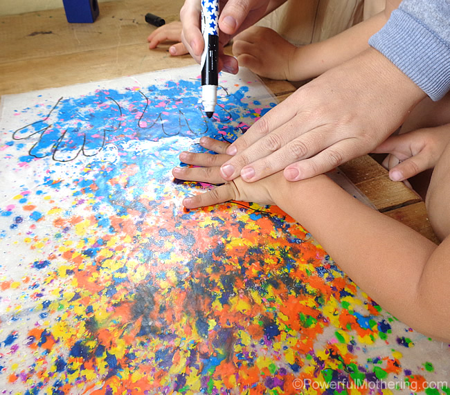hand tracing on wax paper