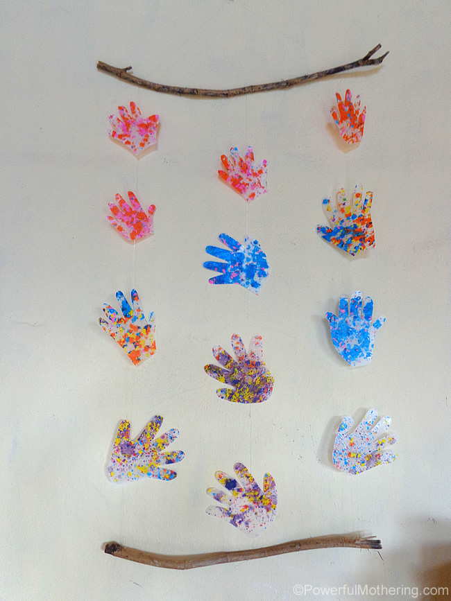 Hand print wall hanging for Art craft wall hanging