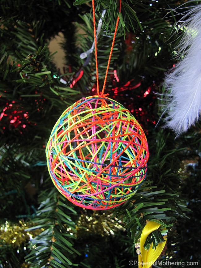 Yarn Or String Ball Christmas Ornaments A Diy Craft For Kids