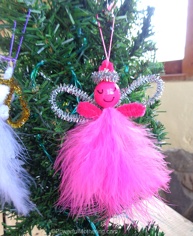 Made Feather Pipe Cleaner Angels Easy Christmas Ornaments - Pink Feather Christmas Tree
