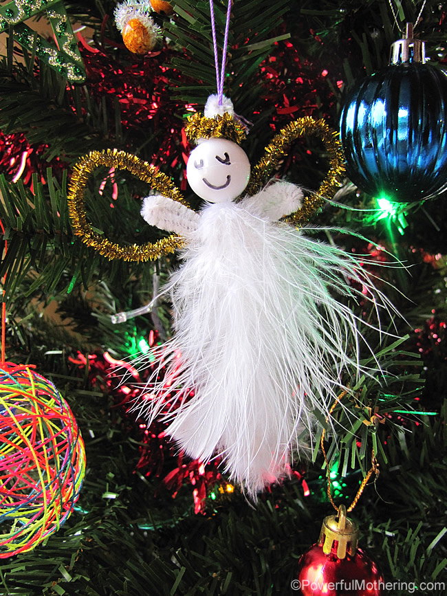 Kid made feather pipe cleaner angels easy christmas for Simple christmas decorations to make