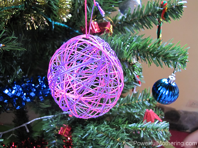 pink and purple yarn ball ornament