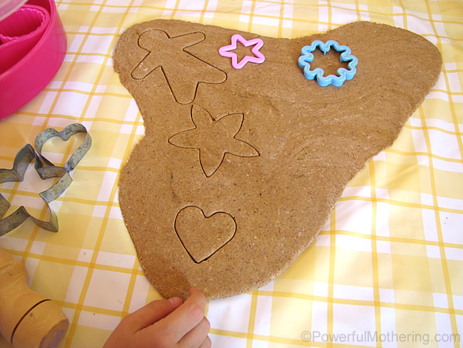 salt dough cookie cutting