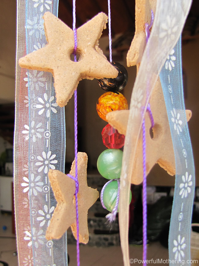 salt dough star and bead mobile