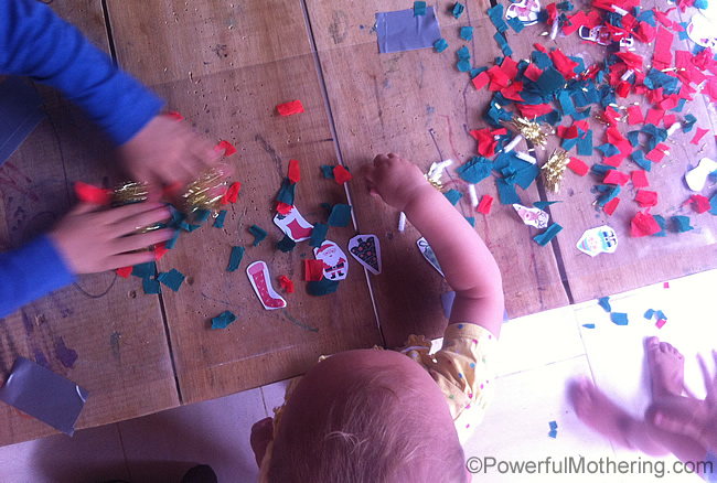 tabletop overview of christmas activity