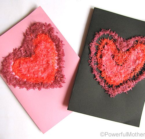 3 color rice card valentines day