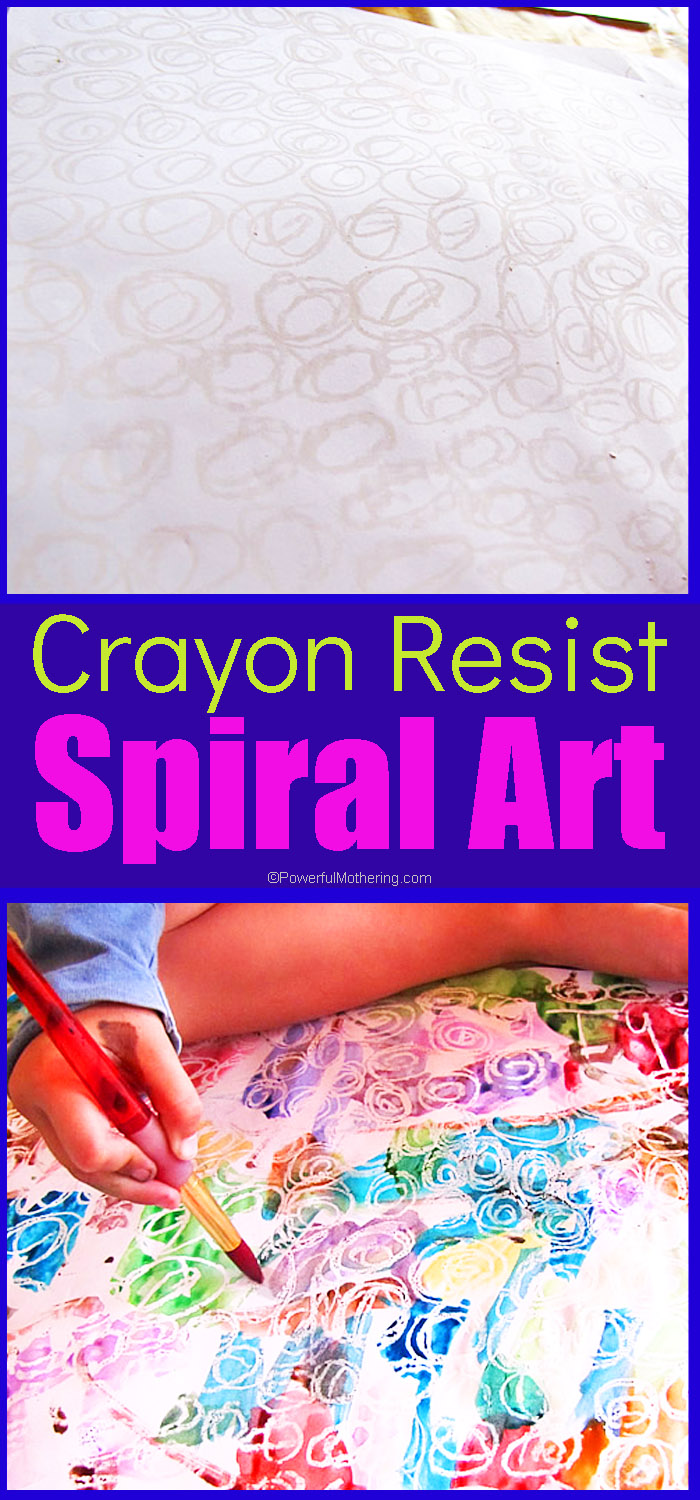 This is another of those oh so simple art activities yet feels like magic. You will need some paper (A3 used here), a white wax crayon and water colors with a paint brush.