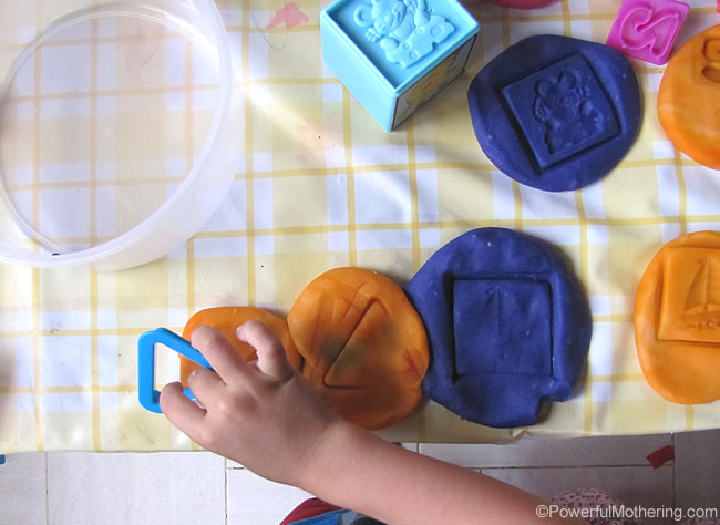 Expand Playdough play with other Toys stamping