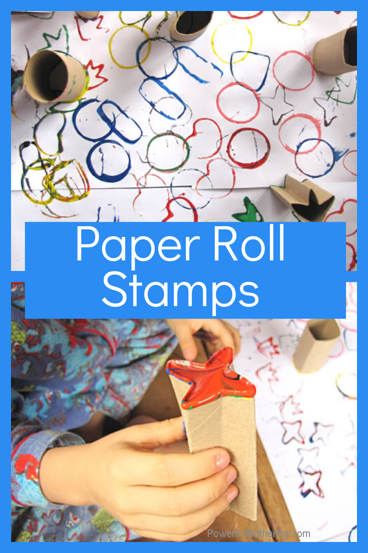 Create your own stamping activity. Kids can create their own masterpieces while strengthening fine motor, color recognition and shape recognition skills.