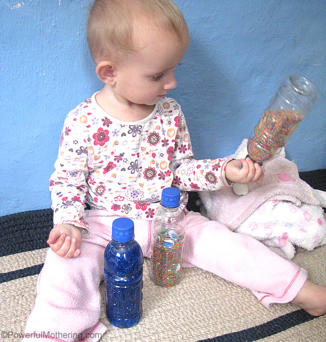 discovery bottles in the kitchen for busy toddlers