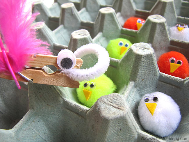 feed the worm to chicks fine motor skills
