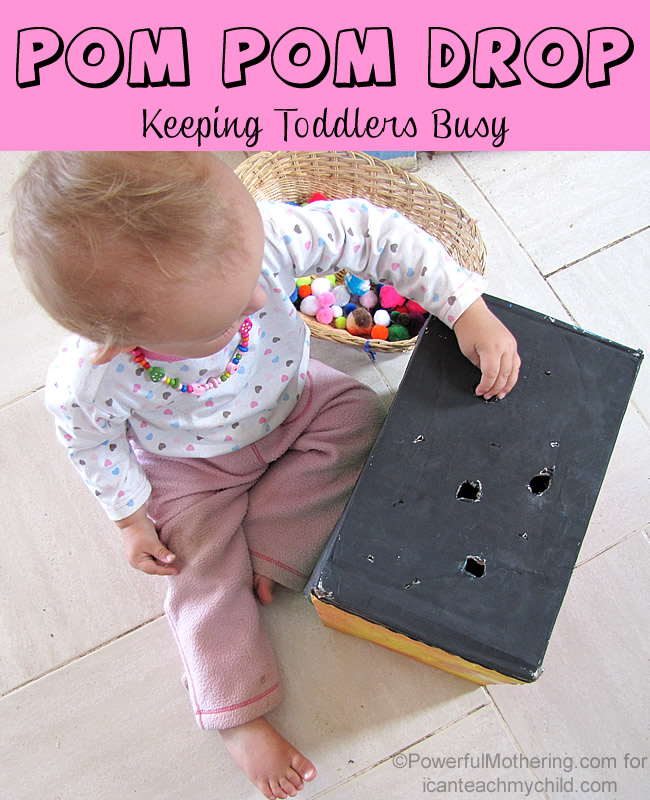 pom pom drop busy toddlers in the kitchen Pom Pom Drop  Keeping Toddlers Busy
