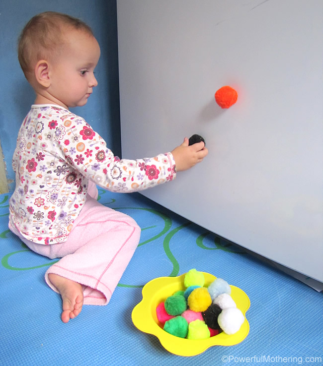 pom poms on the fridge how to keep a toddler busy