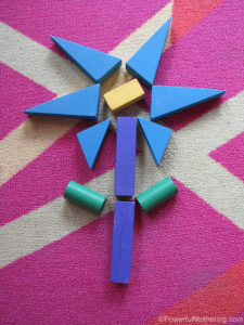 simple play with blocks flower