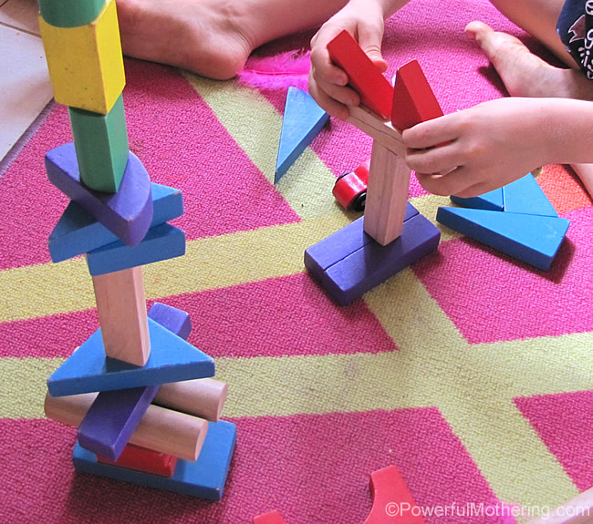 simple play with blocks towers