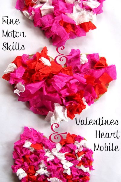 valentines heart mobile and fine motor skills practice time