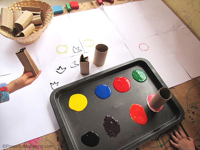 various color paints to stamp with