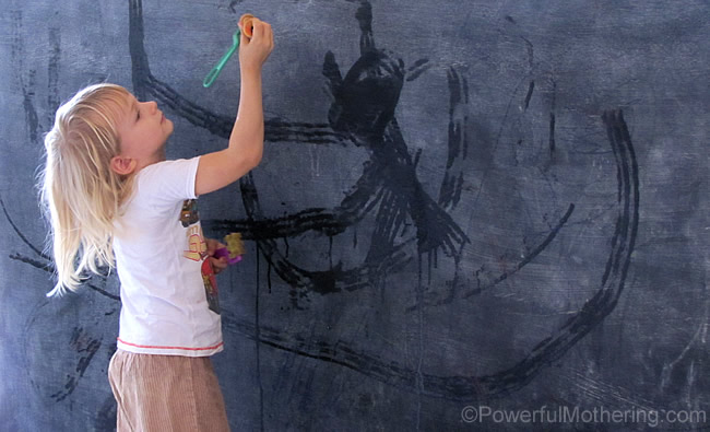 water painting on a chalk board